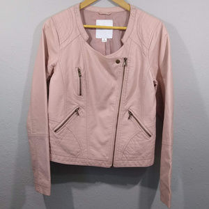 Maurices Blush Pink Faux Leather Moto Jacket